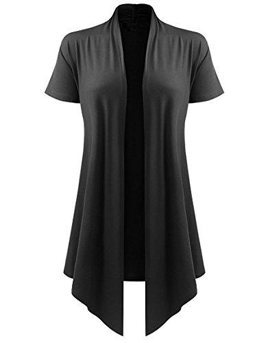 (Dutebare Womens Short Sleeve Open Front Cardigan Lightweight Drape Cardigans Black 3XL)