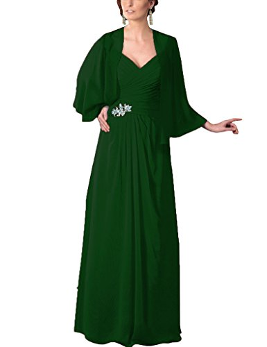 Wraps Bride D H Chiffon S Beaded Of Mother Gowns Prom The With Sequins Dresses green Dark 8wqOwB