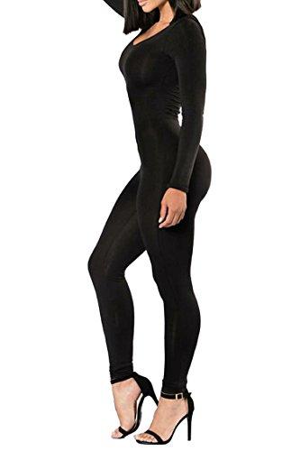 89b14ee4571a5 Selowin Womens Solid Long Sleeve Slim Fit Bodycon One Piece Jumpsuit  Bodysuit