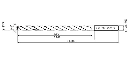 Mitsubishi Materials MWS04375LB MWS Series Solid Carbide Drill 11.113 mm Cutting Dia 5 mm Hole Depth 11.908 mm Shank Dia. Internal Coolant 2 mm Point Length