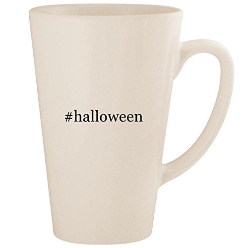 #halloween - White Hashtag 17oz Ceramic Latte Mug Cup ()