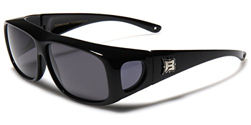 Barricade Polarized Fit Over Glasses Sunglasses with Side Shield - Black Frame / Smoke Lens