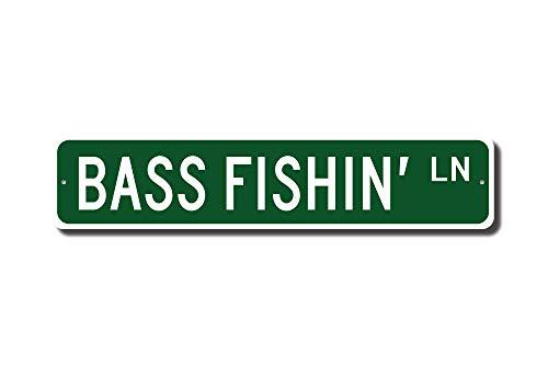 Iliogine Bass Fishin Sign Fisherman Gift Fisherman Decor Fisherman Man Cave Fisherman Sign Fisherman Street Sign Room Sign Wall Art Decor Aluminum Tin Sign ()