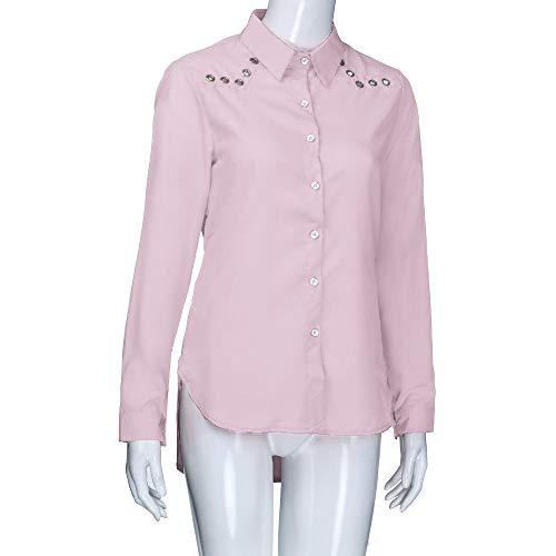 La V Chemises Longues Manches Tops Taille Lache Plus Blouse en De Mode Bouton Rose Pure Tonsee Couleur Femmes Col OSw51Y