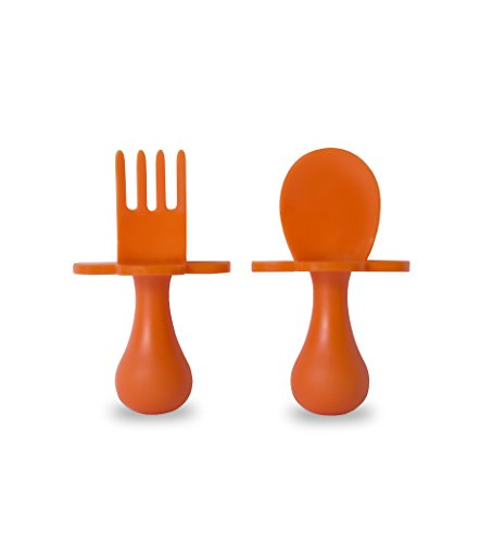 Grabease First Self Feeding Utensil Set of Spoon and Fork for Toddlers (orange). BPA free. To-go pouch