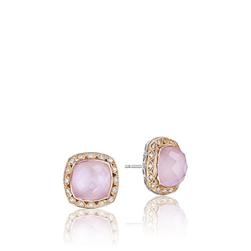 Pearl Multidimensional (Tacori SE106P25 Rose Gold and Sterling Silver Rose Quartz over Pink Mother of Pearl Earrings)