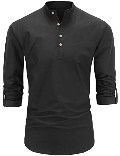 Dioufond Men's Long Sleeve Banded Collar Oxford Dress Shirt (L, Black) ()
