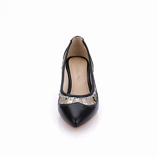 Mee Shoes Sweet PU Leather Cut-out Kitten-heel Court Shoes Black SnJWOT4X