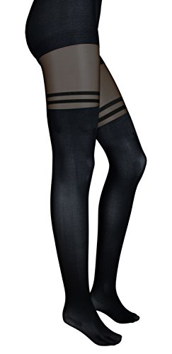 Intimate Portal Women's Fake-it Thigh High Opaque Tights Strap Black Sheer (Lace Thigh High Tights)
