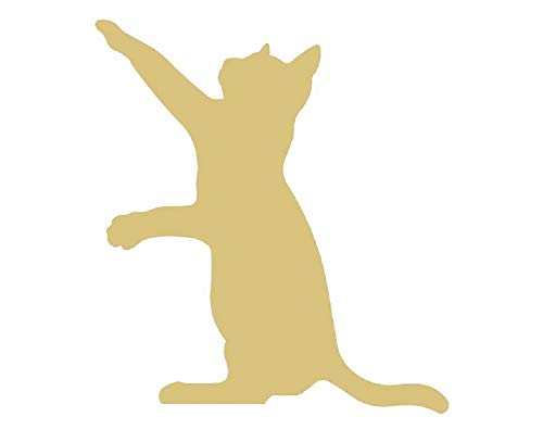 Wood Cat - Cat Cutout Unfinished Wood Pet Animal Cat Lover Door Hanger MDF Shape Canvas Style 4