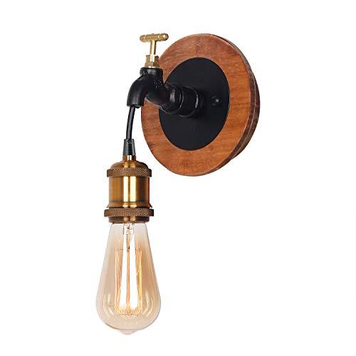 Giluta Wood Wall Sconce Vintage Industrial Bathroom Wall Lighting Edison Simple Style -