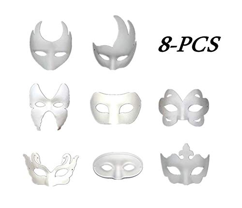 Ru S White Masks, DIY Unpainted Masquerade Masks/Pack of 8 (Color)