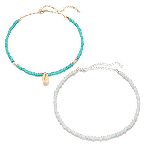 Starain Summer Beach Shell Necklace for Women Girls Handmade Tiny Turquoise Beads Choker Adjustable