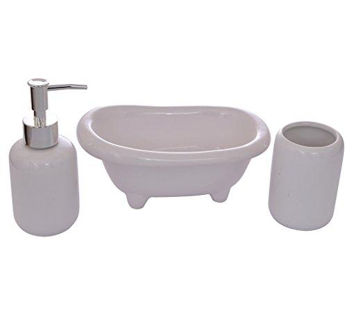 Tied Ribbons 3 Piece Bathroom Accessories Set(Ceramic, White)