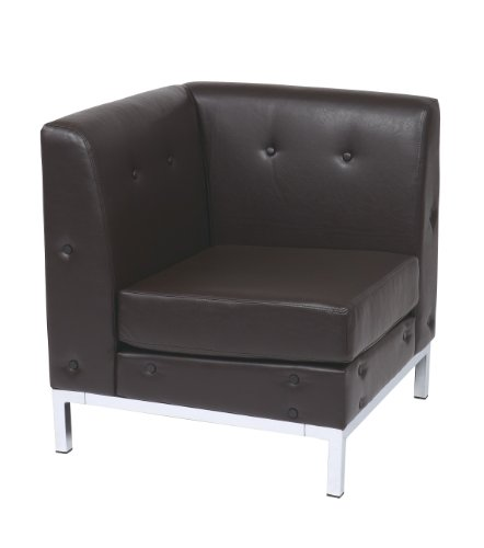 AVE SIX Wall Street Faux Leather Corner Chair with Chrome Finish Base, Espresso