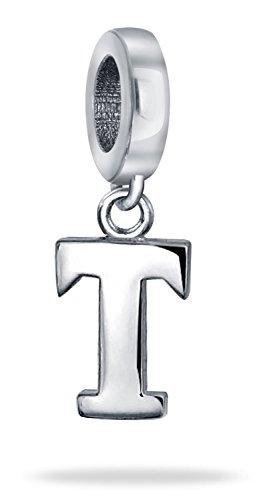 Dangle Block Letter T Alphabet Initial Charm Bead For Women For Teen 925 Sterling Silver For European - Alphabet Block Silver Holes Sterling