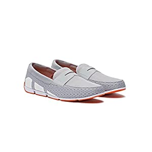 SWIMS Men's Breeze Penny Loafer for Pool and Summer - Gray/White/Orange, 8