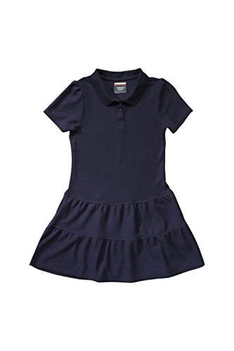 French Toast Little Girls' Ruffled Pique Dress, Navy, X-Small/4/5