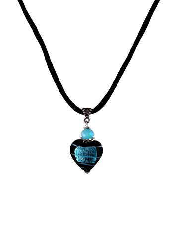 - Fused Glass Heart Pendant Necklace on Cord by A-Ha Accessories