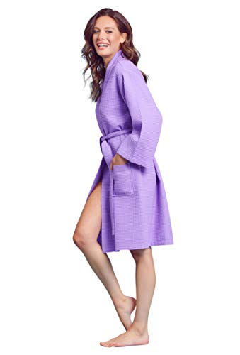Soft Touch Linen Women's Waffle Robe. Knee Length, Lightweight, Absorbent (X-Large, Lavender) ()
