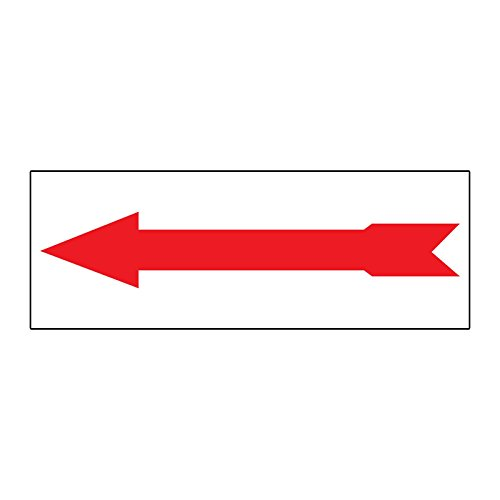 (Arrow Left Red Durable METAL ALUMINUM Real Estate Rider Sign - 1 or 2 Side Print /6 in x 24 in One Side Print)