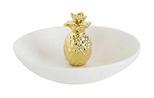 Stoneware Jewelry Holder w/ Gold Electroplated Finish Pineapple, White