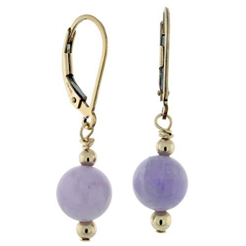 14K Gold-filled 8mm Gemstone Bead Dangle Lever Back Earrings, Amethyst