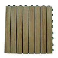 Deck Teak Plantation (Vifah V355 Tile Snapping Deck Tiles Plantation Teak Slat Deck Tile Hardwood 8 Slat - Box of 10 Tiles)
