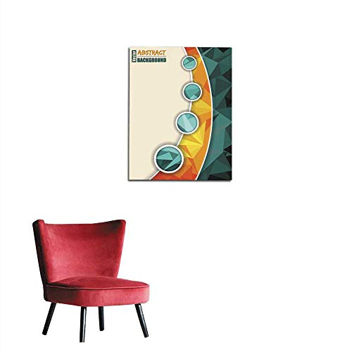 (longbuyer Photographic Wallpaper Abstract Turquoise brochure with Orange Transparent Stripe Mural 32