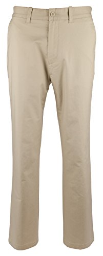 Nautica Men's Flat Front Slim Fit Twill Chino Marina Stretch Pant, Beach Sand, 34W x (Sand Beach Pant)
