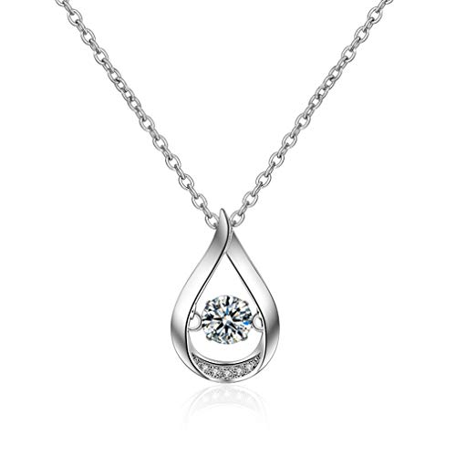LOVESILVER Sterling Silver Round-Cut Zirconia Solitaire Celtic Knot Pendant Necklace,18