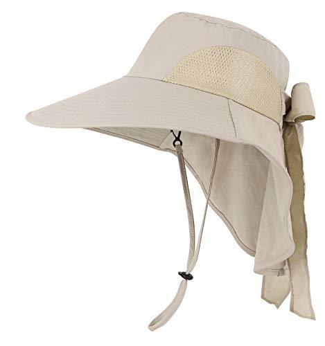 (Womens Foldable Flap Cover UPF 50+ UV Protective Wide Brim Bucket Sun Hat Khaki)