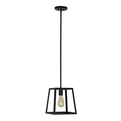 Stone & Beam Industrial Open Rectangle Frame Ceiling Chandelier Pendant with LED Light Bulb - 9.5 x 9.5 x 14.38 Inch, Matte Black