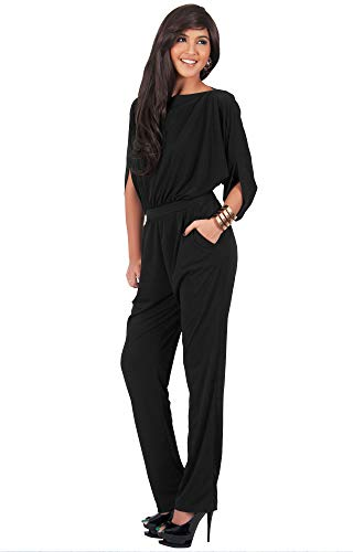 KOH KOH Womens Short Sleeve Sexy Formal Cocktail Casual Cute Long Pants One Piece Fall Pockets Dressy Jumpsuit Romper Long Leg Pant Suit Suits Outfit Playsuit, Black L 12-14 by KOH KOH (Image #4)