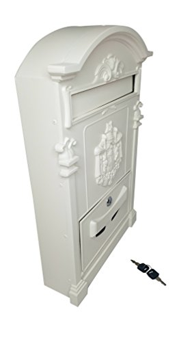 White Wall Mount Mailbox (Royal Brands Wall Mount Mailbox – Aluminium – Includes Lock and Key – Vintage Style with Crest Design – White (12