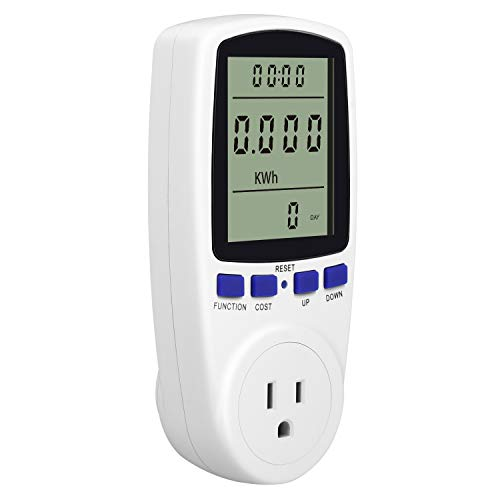 Kuman Electricity Usage Monitor Plug Power Meter Energy Watt Voltage Amps Meter with Digital LCD Display,Overload Protection and 7 Display Modes for Energy - Watt Hour Electric Meter