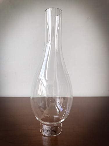 TUBO paralume lume a petrolio ceramica e campana vetro olio diametro base 5 cm