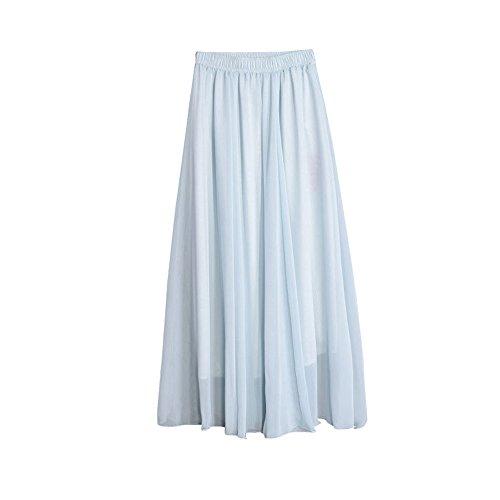 Jupes Longues en Mousseline de Soie lgante/Jupe Longue Boheme Femme ete Jupe Plisse Longue Gitane Bleu Clair