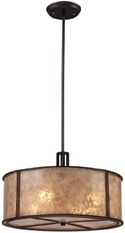 Elk 15032 4 Barringer 4-Light Pendant in Aged Bronze and Tan Mica Shade