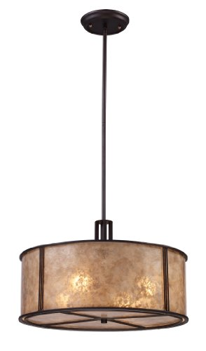 Elk 15032/4 Barringer 4-Light Pendant in Aged Bronze and Tan Mica Shade