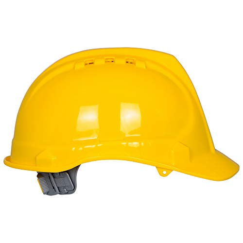 Safety Hard Hat by AMSTON- Adjustable Helmet With 'Keep Cool' Vents, Meets ANSI z89.1 Standards, Personal Protective Equipment/PPE for Construction, Home Improvement, DIY Projects (Yellow) by Amston Tool Company