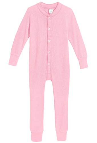 City Threads Baby Boys and Girls' Union Suit Thermal Underwear Set Long John Onesie Footie Perfect for Sensitive Skin and Sensory Friendly SPD, Bright Light Pink, 18/24M