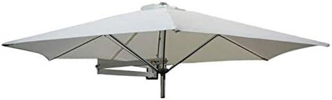 パラソルØ8ft / 250cm Wall Balcony Patio Umbrella、Garden Wall Mounted Cantilever Tilting Sunshade Umbrella with Metal Pole(Color:Khaki)