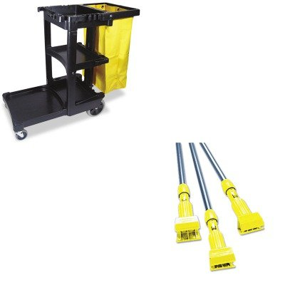 KITRCP617388BKRCPH246GY - Value Kit - Rubbermaid-Gray Gripper Wet Mop Handle (RCPH246GY) and Rubbermaid Cleaning Cart with Zippered Yellow Vinyl Bag, Black (RCP617388BK) by Rubbermaid