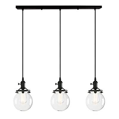 Permo Vintage Rustic Industrial Steampunk Straight Tube Water Pipes Pendant Hanging Ceiling Bar Light with 5pcs 40-watt Edison Bulbs