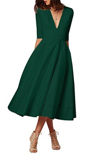 Delle Dell'alta Da Profondo Cocktail Verde Elegante Collo Vita Donne Di Dall'azzurro Dal V Vestito Yming qzn1R4Yt