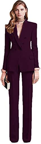 HYC Women's Business Suits Double Breasted Female Office Uniform Ladies Formal Trouser Suit 2 Piece