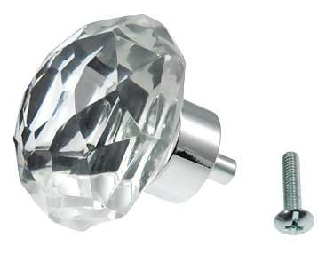 (TWO (2) Old Town Diamond-Cut 24% Lead Crystal- Knob Pulls with Polished Chrome base, 1-1/4