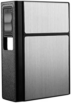 ライフ小屋 シガレットケース タバコケース 2イン1 USB充電 ライター付き 20本 防風 ガス・オイル不要 電子ライター 煙草ケース 小型 携帯便利 プレゼント (シルバー)