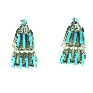 BY Zuni Artist Stewart Lowsayatee:-Beautiful! Sterling-silver Turquoise Needle Point (Sterling Silver Zuni Needlepoint)